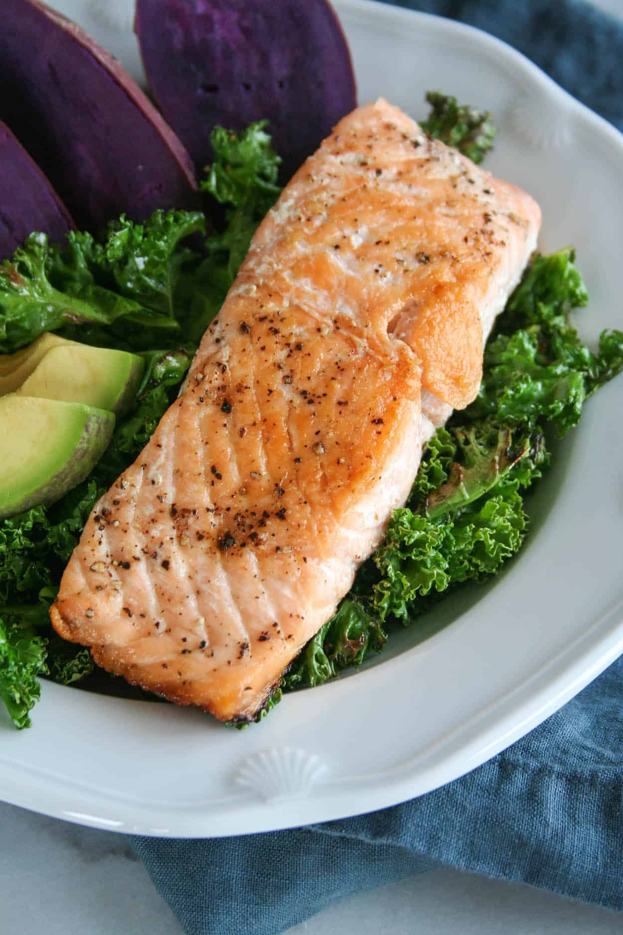 Simple Pan Seared Salmon Macro Bowls Hungry By Nature