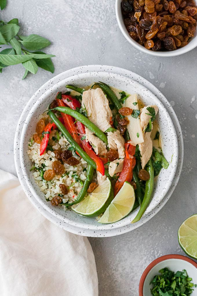overhead shot of bowl of whole30 green curry with chicken