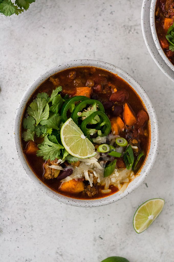Slow Cooker Turkey Chili With Sweet Potatoes Hungry By Nature